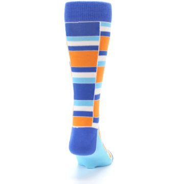 Image of Blue Orange Stacked Men's Dress Socks (back-19)