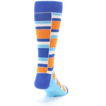 Image of Blue Orange Stacked Men's Dress Socks (side-1-back-20)