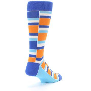 Image of Blue Orange Stacked Men's Dress Socks (side-1-back-21)