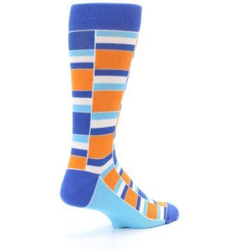 Image of Blue Orange Stacked Men's Dress Socks (side-1-back-22)