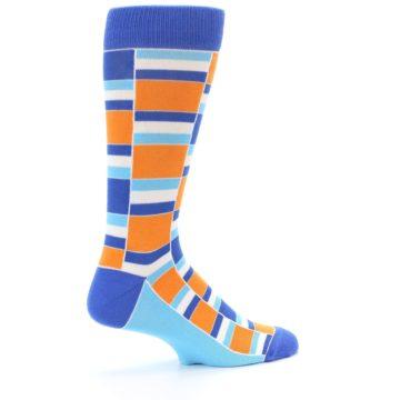 Image of Blue Orange Stacked Men's Dress Socks (side-1-23)