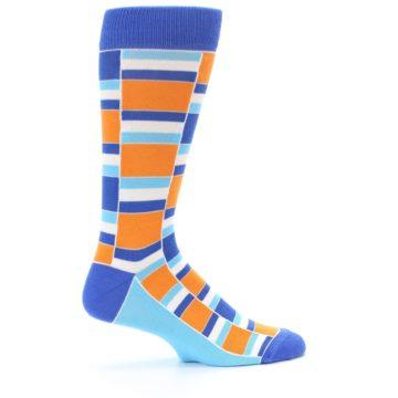 Image of Blue Orange Stacked Men's Dress Socks (side-1-24)