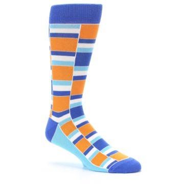 Image of Blue Orange Stacked Men's Dress Socks (side-1-26)