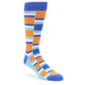 Image of Blue Orange Stacked Men's Dress Socks (side-1-27)