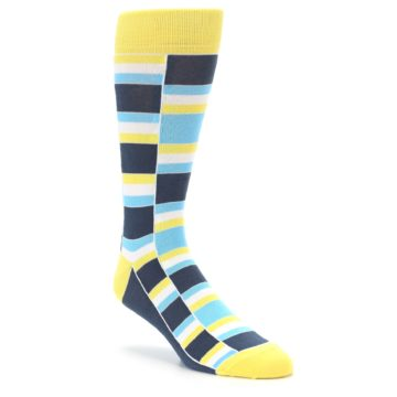 Image of Yellow Blues Stacked Men's Dress Socks (side-1-front-01)