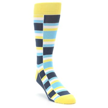 Image of Yellow Blues Stacked Men's Dress Socks (side-1-front-02)