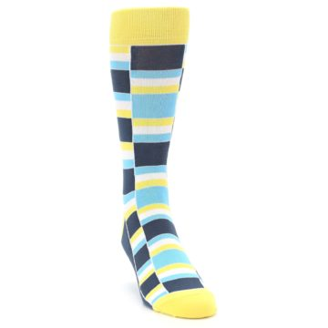 Image of Yellow Blues Stacked Men's Dress Socks (side-1-front-03)