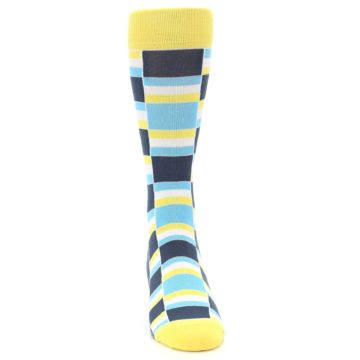Image of Yellow Blues Stacked Men's Dress Socks (front-04)