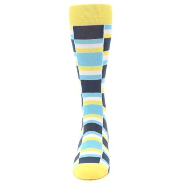 Image of Yellow Blues Stacked Men's Dress Socks (front-05)