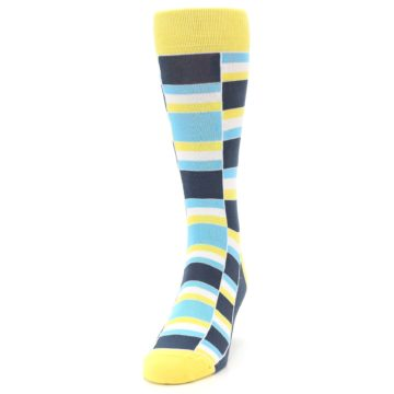 Image of Yellow Blues Stacked Men's Dress Socks (side-2-front-06)
