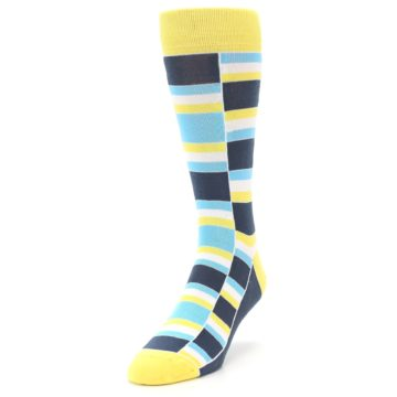Image of Yellow Blues Stacked Men's Dress Socks (side-2-front-07)
