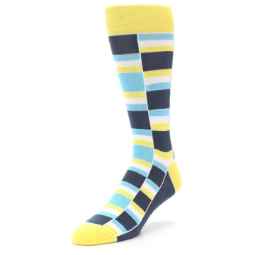 Image of Yellow Blues Stacked Men's Dress Socks (side-2-front-08)