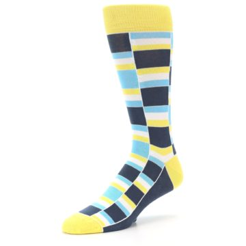 Image of Yellow Blues Stacked Men's Dress Socks (side-2-09)