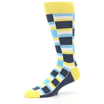 Image of Yellow Blues Stacked Men's Dress Socks (side-2-10)
