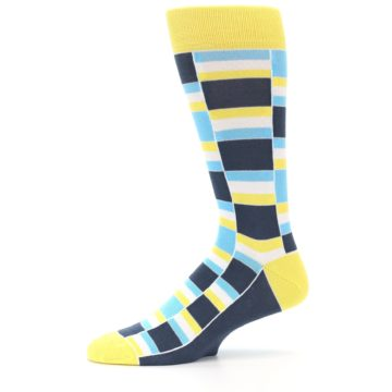 Image of Yellow Blues Stacked Men's Dress Socks (side-2-11)