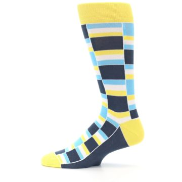 Image of Yellow Blues Stacked Men's Dress Socks (side-2-12)