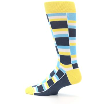 Image of Yellow Blues Stacked Men's Dress Socks (side-2-13)
