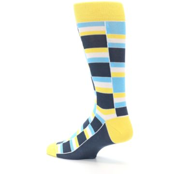 Image of Yellow Blues Stacked Men's Dress Socks (side-2-back-14)