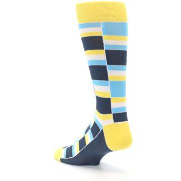 Image of Yellow Blues Stacked Men's Dress Socks (side-2-back-15)