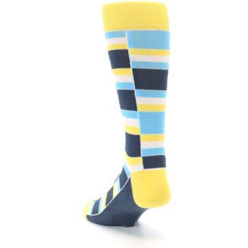 Image of Yellow Blues Stacked Men's Dress Socks (side-2-back-16)
