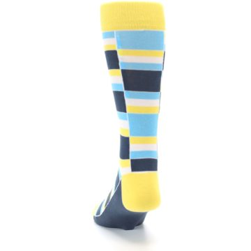 Image of Yellow Blues Stacked Men's Dress Socks (back-17)