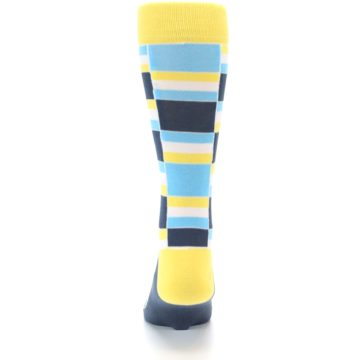 Image of Yellow Blues Stacked Men's Dress Socks (back-18)