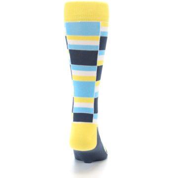 Image of Yellow Blues Stacked Men's Dress Socks (back-19)