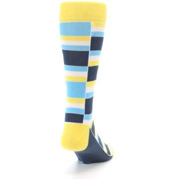 Image of Yellow Blues Stacked Men's Dress Socks (side-1-back-20)