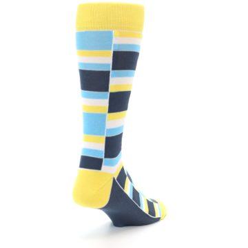 Image of Yellow Blues Stacked Men's Dress Socks (side-1-back-21)