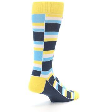 Image of Yellow Blues Stacked Men's Dress Socks (side-1-back-22)