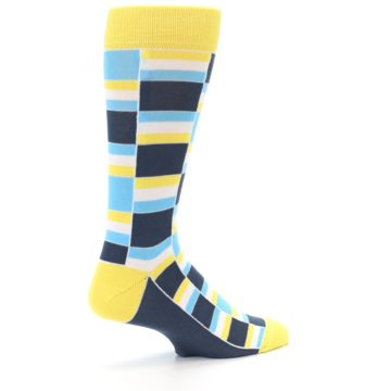 Image of Yellow Blues Stacked Men's Dress Socks (side-1-23)
