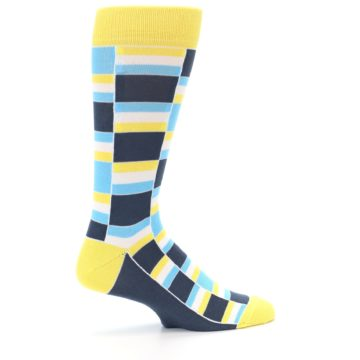 Image of Yellow Blues Stacked Men's Dress Socks (side-1-24)
