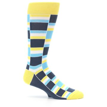 Image of Yellow Blues Stacked Men's Dress Socks (side-1-25)