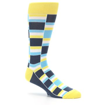 Image of Yellow Blues Stacked Men's Dress Socks (side-1-26)