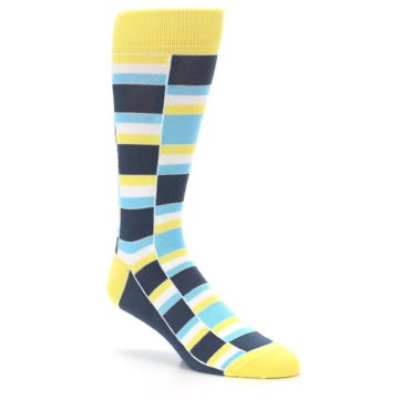 Image of Yellow Blues Stacked Men's Dress Socks (side-1-27)