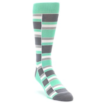 Image of Green Grey Stacked Men's Dress Socks (side-1-front-02)