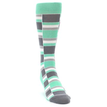 Image of Green Grey Stacked Men's Dress Socks (side-1-front-03)