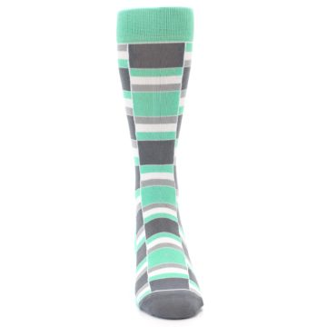Image of Green Grey Stacked Men's Dress Socks (front-04)