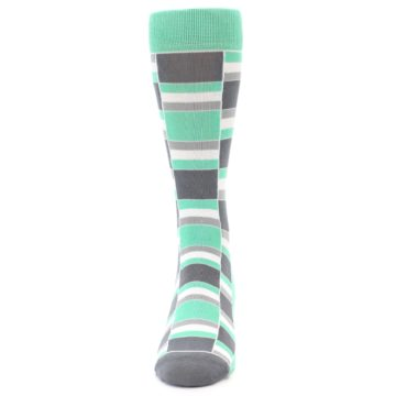 Image of Green Grey Stacked Men's Dress Socks (front-05)