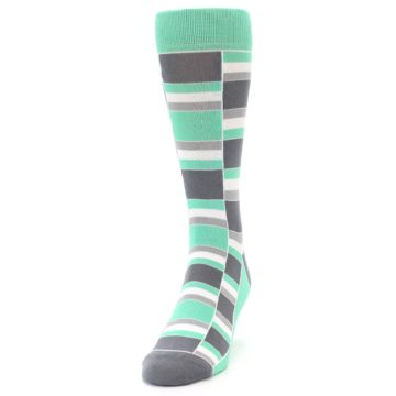 Image of Green Grey Stacked Men's Dress Socks (side-2-front-06)