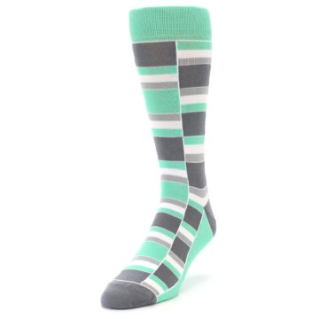 Image of Green Grey Stacked Men's Dress Socks (side-2-front-07)