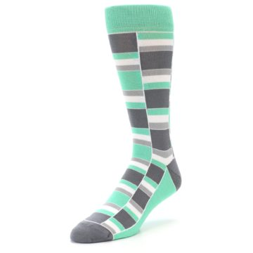 Image of Green Grey Stacked Men's Dress Socks (side-2-front-08)