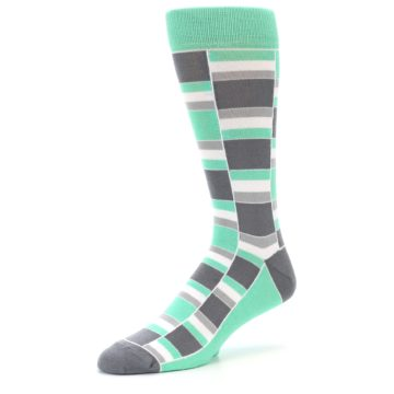 Image of Green Grey Stacked Men's Dress Socks (side-2-09)