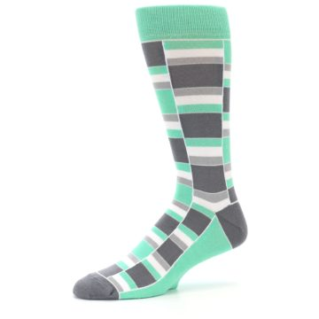 Image of Green Grey Stacked Men's Dress Socks (side-2-10)