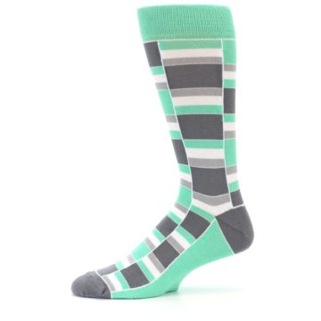 Image of Green Grey Stacked Men's Dress Socks (side-2-11)