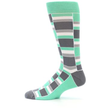 Image of Green Grey Stacked Men's Dress Socks (side-2-12)