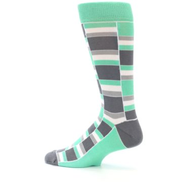Image of Green Grey Stacked Men's Dress Socks (side-2-13)