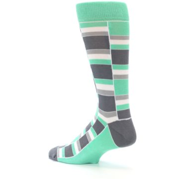 Image of Green Grey Stacked Men's Dress Socks (side-2-back-14)
