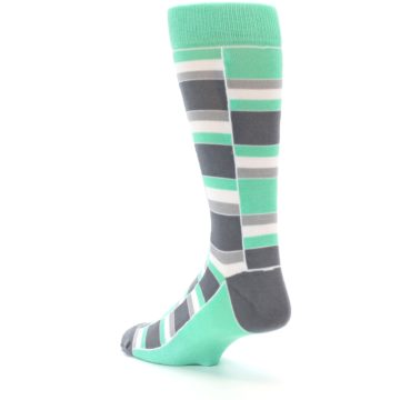 Image of Green Grey Stacked Men's Dress Socks (side-2-back-15)