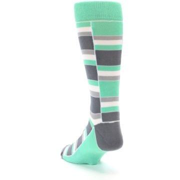 Image of Green Grey Stacked Men's Dress Socks (side-2-back-16)